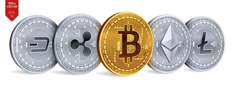 Bitcoin ondulazione Ethereum precipitare Litecoin monete fisiche isometriche 3D Valuta cripto Monete dorate e d'argento con bitco illustrazione vettoriale