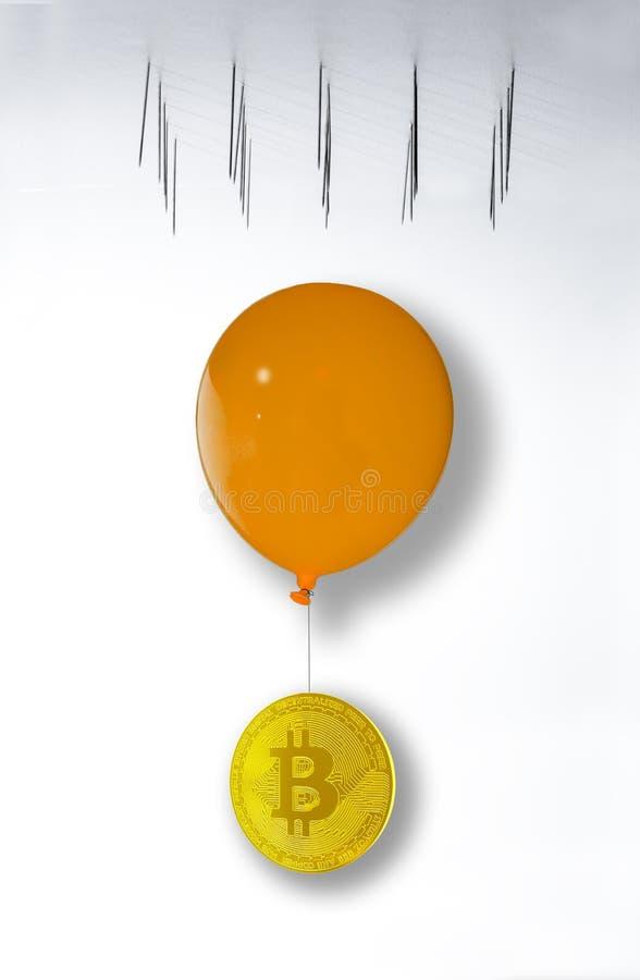 Bitcoin ongeveer om neer te vallen en in te storten Bitcoin het hangen van royalty-vrije stock fotografie