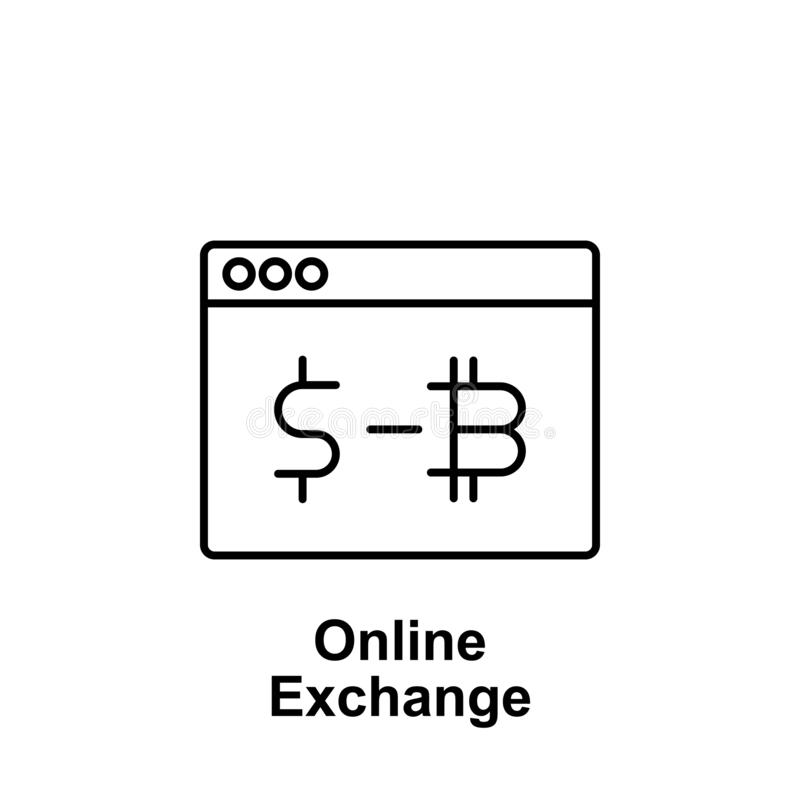 Bitcoin online exchange outline icon. Element of bitcoin illustration icons. Signs and symbols can be used for web, logo, mobile stock illustration