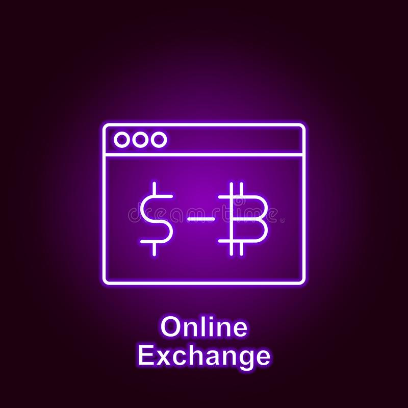 Bitcoin online exchange outline icon in neon style. Element of cryptocurrency illustration icons. Signs and symbols can be used. For web, logo, mobile app, UI royalty free illustration