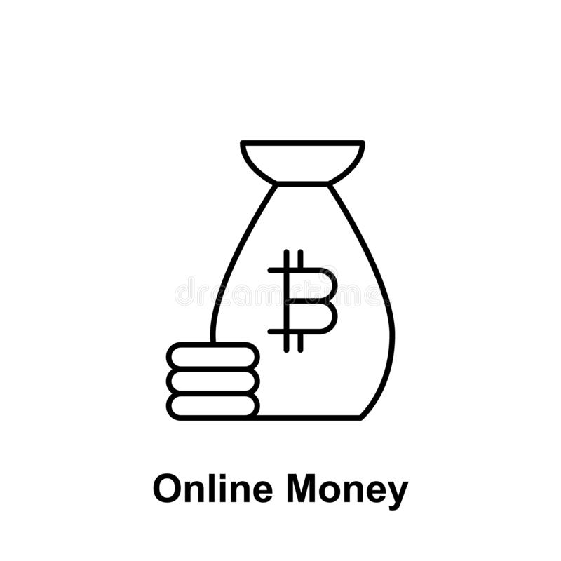 Bitcoin online money outline icon. Element of bitcoin illustration icons. Signs and symbols can be used for web, logo, mobile app stock illustration
