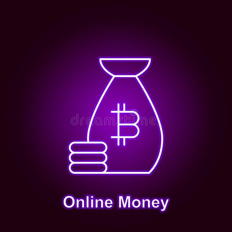 Bitcoin online money outline icon in neon style. Element of cryptocurrency illustration icons. Signs and symbols can be used for. Web, logo, mobile app, UI, UX stock illustration