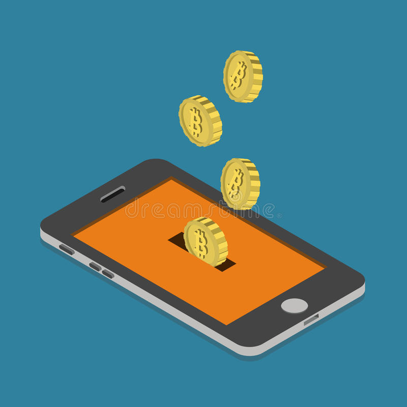 Bitcoin online payment phone mining flat 3d vector isometric royalty free illustration