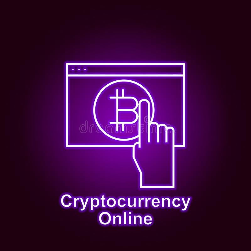Bitcoin online web page outline icon in neon style. Element of cryptocurrency illustration icons. Signs and symbols can be used. For web, logo, mobile app, UI vector illustration