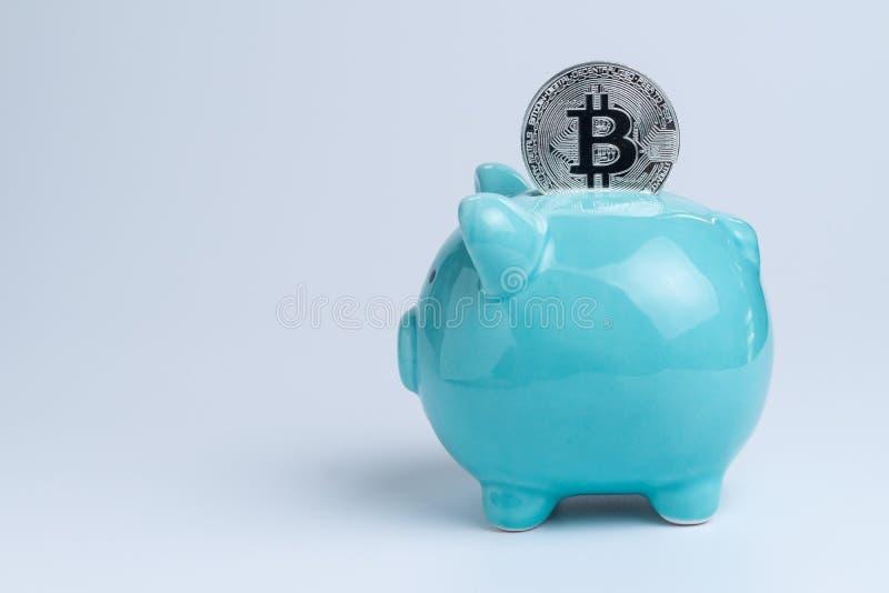Download Bitcoin Op Blauw Spaarvarken Als Crypto Digitaal Bankwezen Of Cyber Sa Stock Foto - Afbeelding bestaande uit economie, digitaal: 107708108