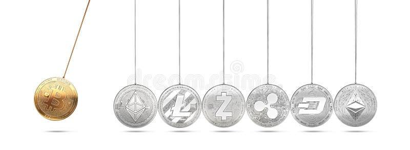 Bitcoin op de wieg van Newton ` s voert en versnelt andere cryptocurrencies op en afwisselend royalty-vrije stock afbeeldingen