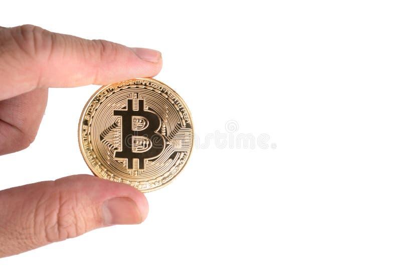 Bitcoin op ge?soleerde witte achtergrond Cryptografie en Elektronisch geldconcept Munt handel en Goudwinning thema Zaken stock foto