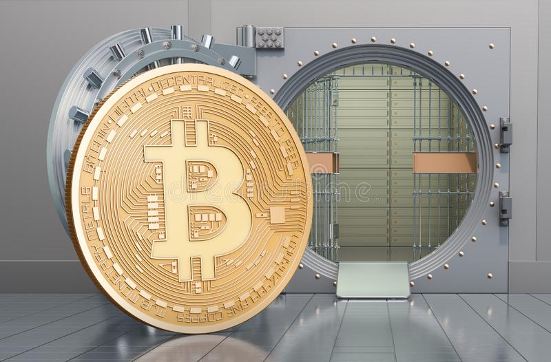 Bitcoin with opened bank vault, 3D rendering. Bitcoin with opened bank vault, 3D royalty free illustration