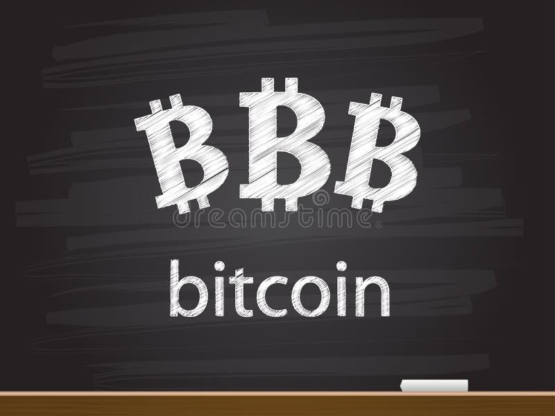 Bitcoin ord som är infographic på svart tavla royaltyfri illustrationer
