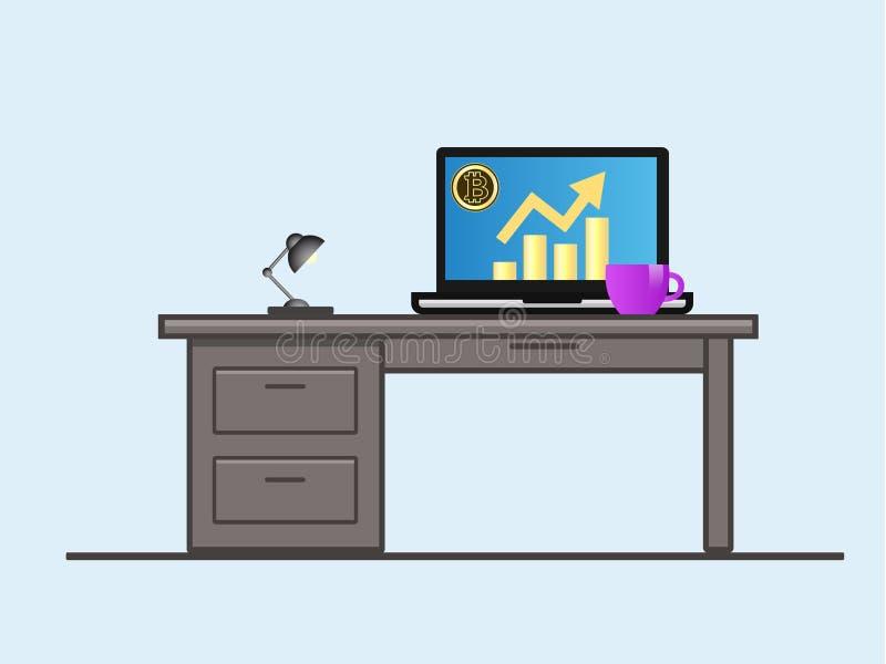 Bitcoin Ordenador portátil con el diagrama del crecimiento en la pantalla libre illustration