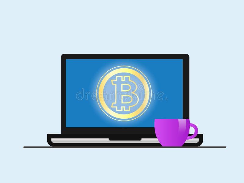 Bitcoin Ordenador portátil con el símbolo de Bitcoin en pantalla libre illustration