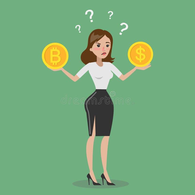 Bitcoin ou dollar illustration libre de droits