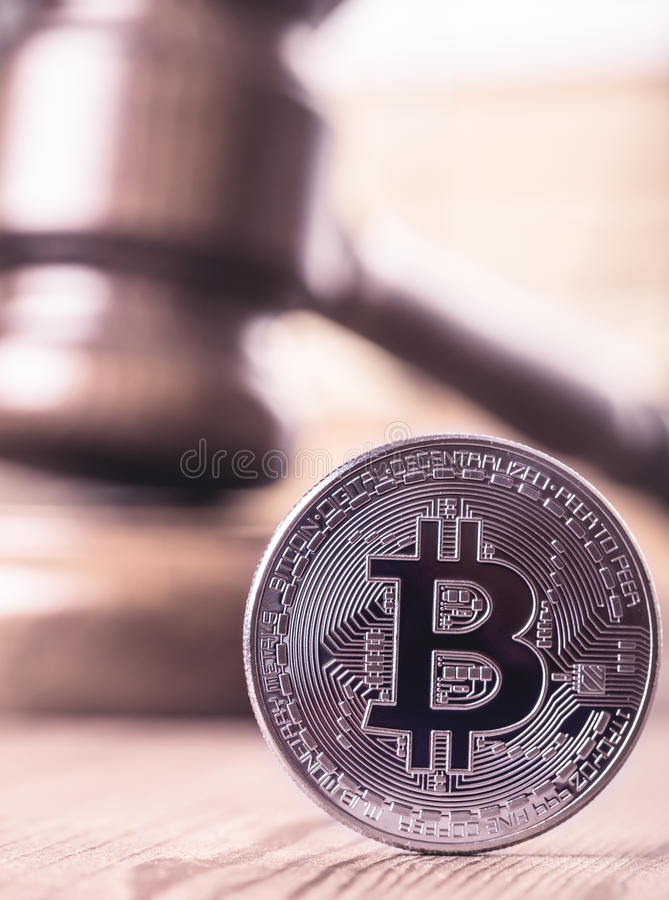 Bitcoin out of law concept royalty free stock photography