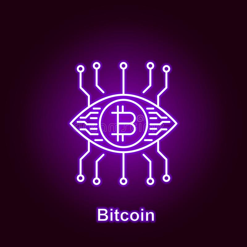 bitcoin outline icon in neon style. Element of cryptocurrency illustration icons. Signs and symbols can be used for web, logo, stock illustration