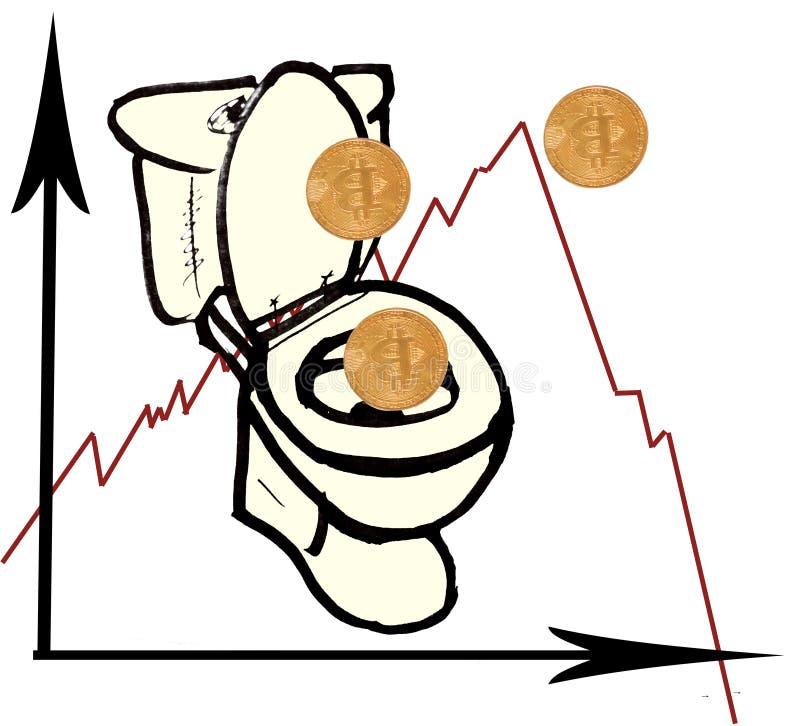 Bitcoin på ett ark av vitbok Grafisk teckning med minskande bitcoathastighet Grafavverkningminuset Mynt tappar in i det in stock illustrationer