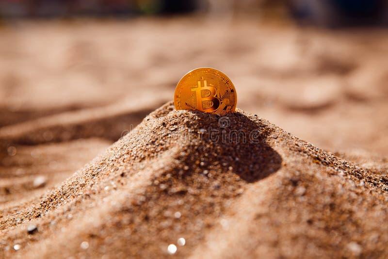 Bitcoin på guld- sand royaltyfri fotografi