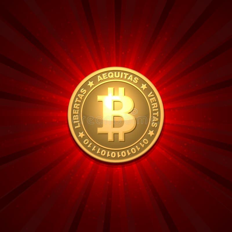 Bitcoin på röd bakgrund vektor illustrationer