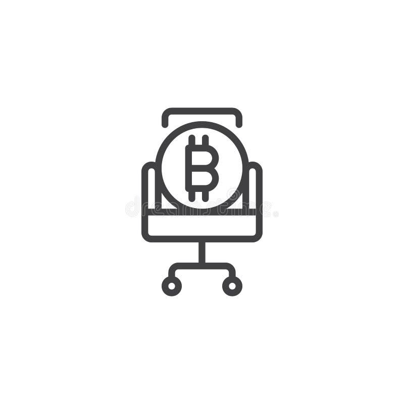 Bitcoin på stolöversiktssymbol royaltyfri illustrationer