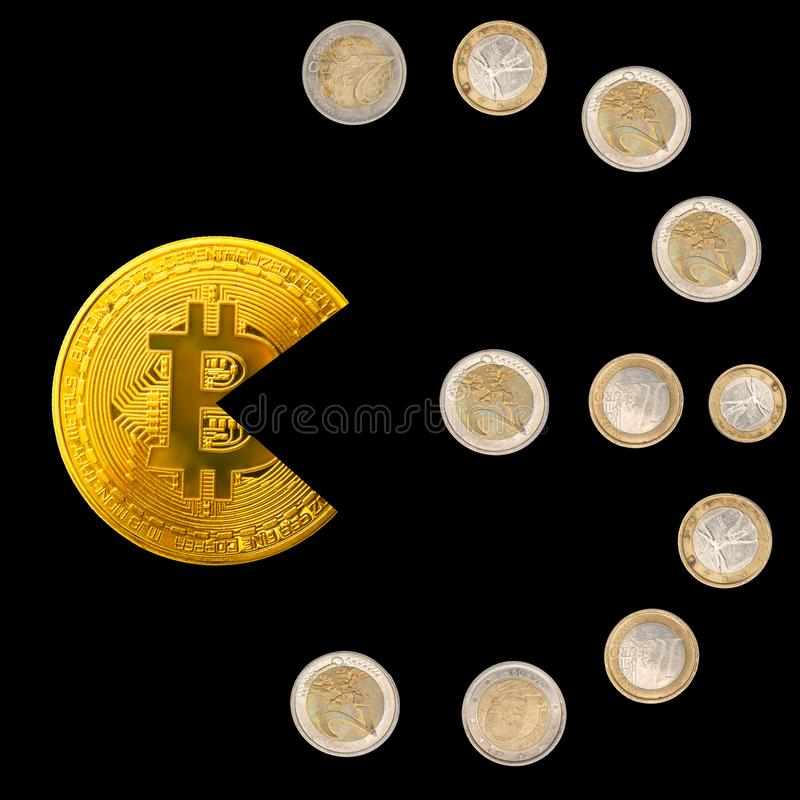 Bitcoin pacman shape eating euro coins symbol on black royalty free stock photo