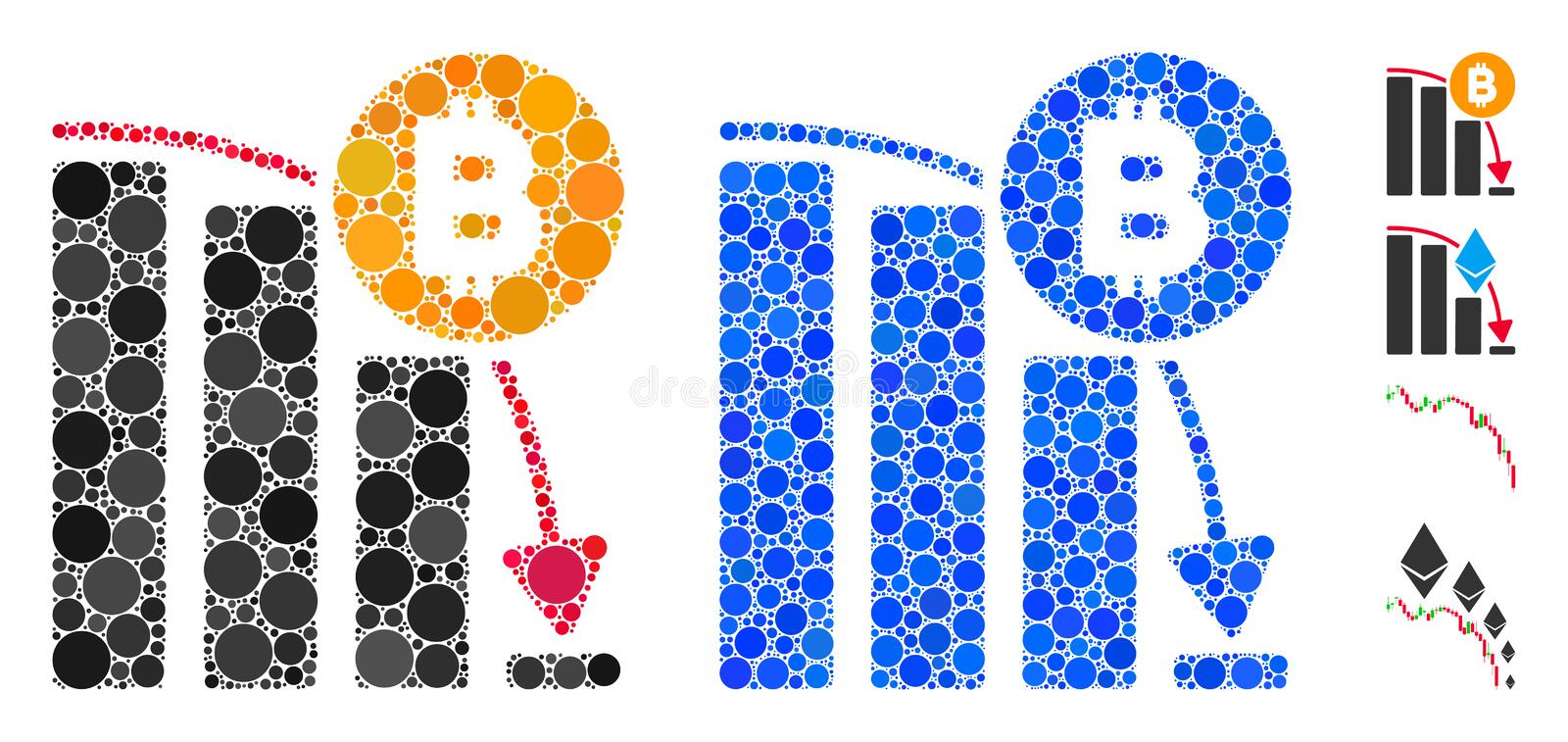 Bitcoin Panic Fall Chart Mosaic Icon of Spheric Items royalty free illustration