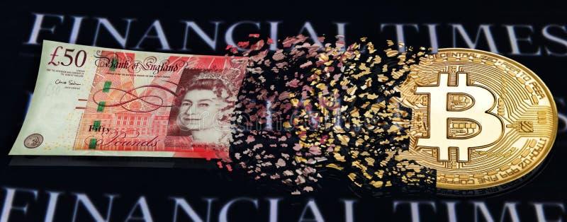 Bitcoin partiklar omformas in i pundsedel Titelrad eller bakgrund för crypto valutainnehåll och finansiella mars royaltyfri bild