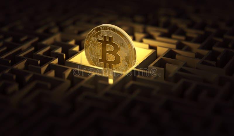 Bitcoin a perdu dans le labyrinthe foncé Problèmes et difficultés autour du concept de cyptocurrencies rendu 3d illustration stock