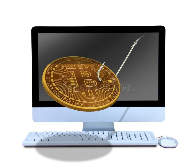 Bitcoin phishing em linha no gancho de peixes que sai do computador para seduzi-lo em comprar a mineração e no cortá-la foto de stock royalty free
