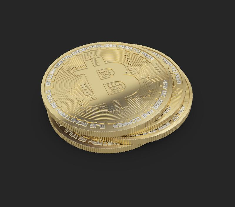 Bitcoin. Physical bit coin. Cryptocurrency. Golden coin with bitcoin symbol on black background. 3d illustration. Bitcoin. Physical bit coin. Cryptocurrency stock illustration