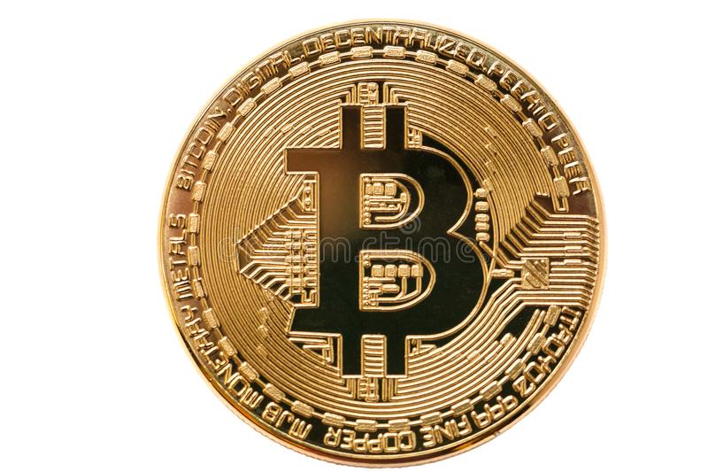 Bitcoin. Physical bit coin. Digital currency. Cryptocurrency. Golden coin with bitcoin symbol isolated on white background.  stock images