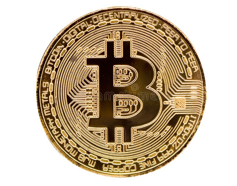 Bitcoin. Physical bit coin. Digital currency. Cryptocurrency. Golden coin with bitcoin symbol isolated on white background stock photos