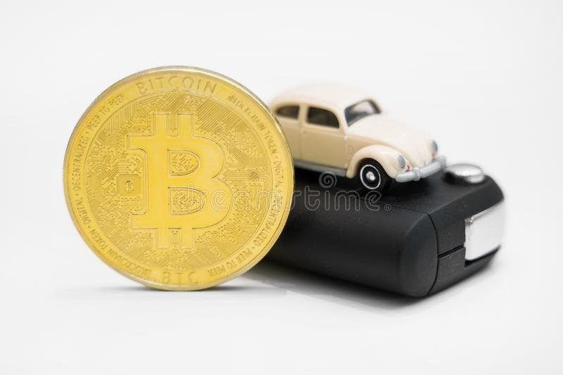 Bitcoin physique d'or photographie stock libre de droits