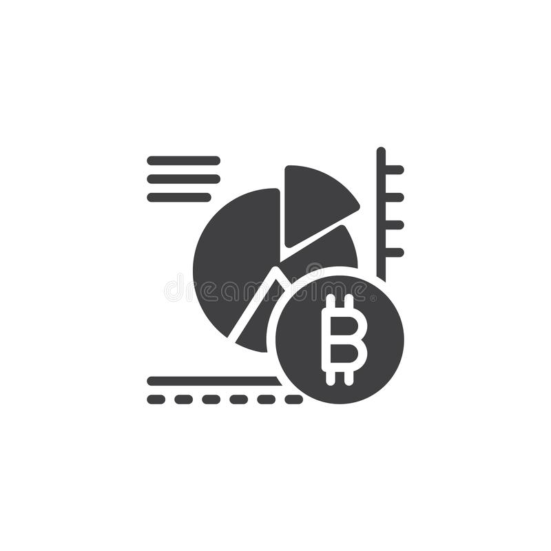 Bitcoin pie chart vector icon stock illustration