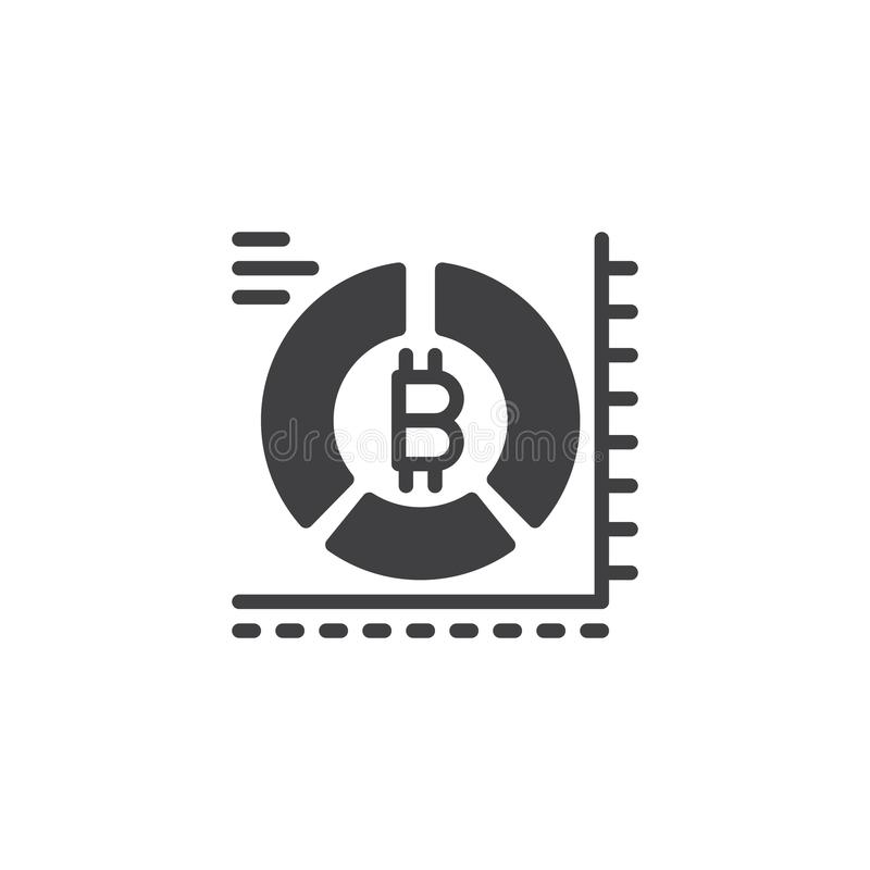 Bitcoin pie chart vector icon royalty free illustration