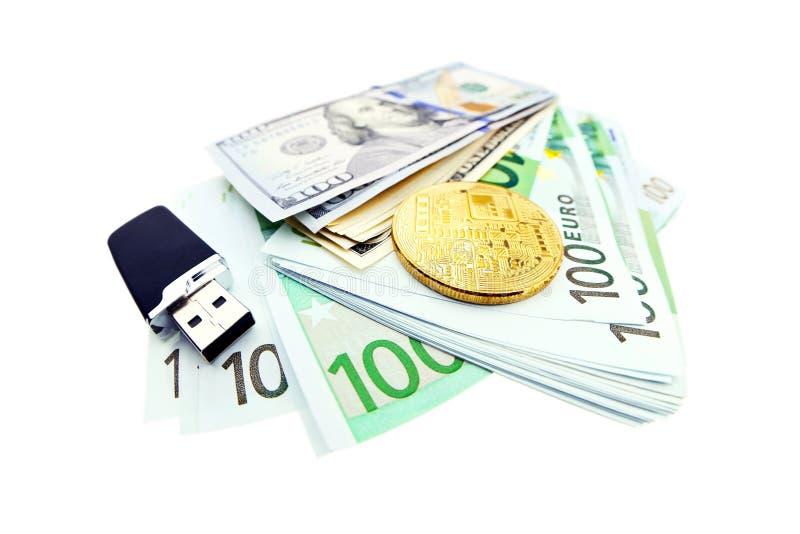 Bitcoin pieniądze i moneta zdjęcia royalty free