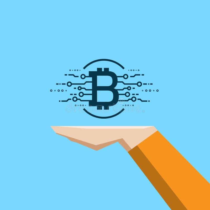 Bitcoin pieniądze w ręki wymiany walut cyfrowym biznesie ilustracji