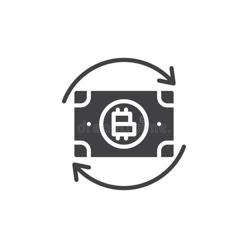 Bitcoin pieniądze wymiany strzał wektoru ikona ilustracji