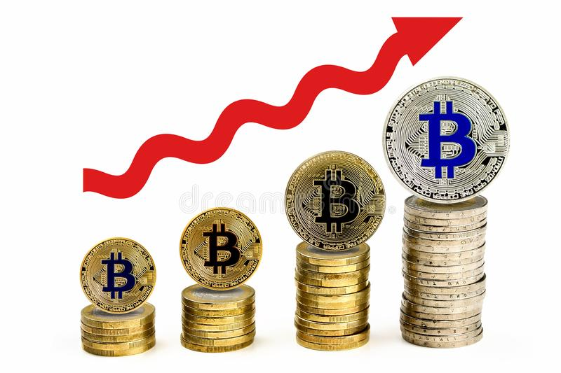 Bitcoin pieniężny wzrostowy pojęcie z up strzała obrazy royalty free