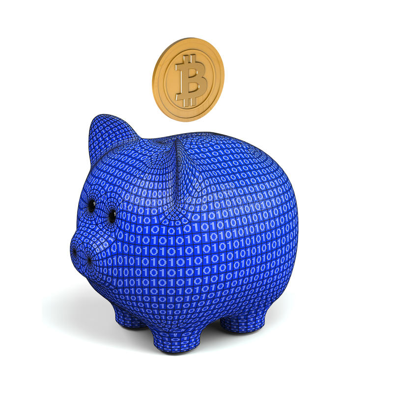 Bitcoin and piggy bank royalty free stock image