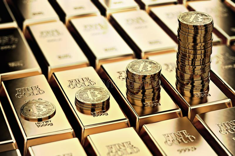 Bitcoin piles on rows of gold bars gold ingots. Bitcoin keep growing and it is as desirable as gold concept. 3D rendering vector illustration