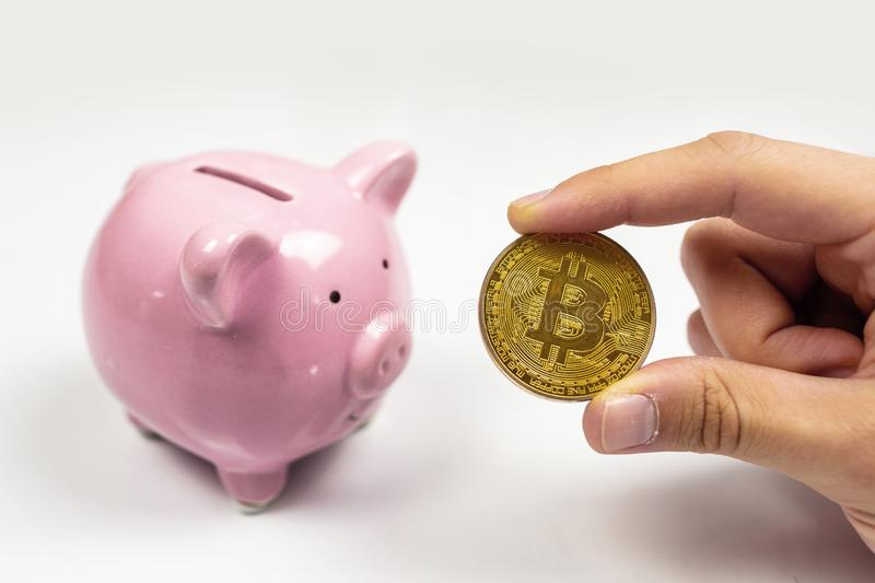Bitcoin and pink piggy bank royalty free stock photos