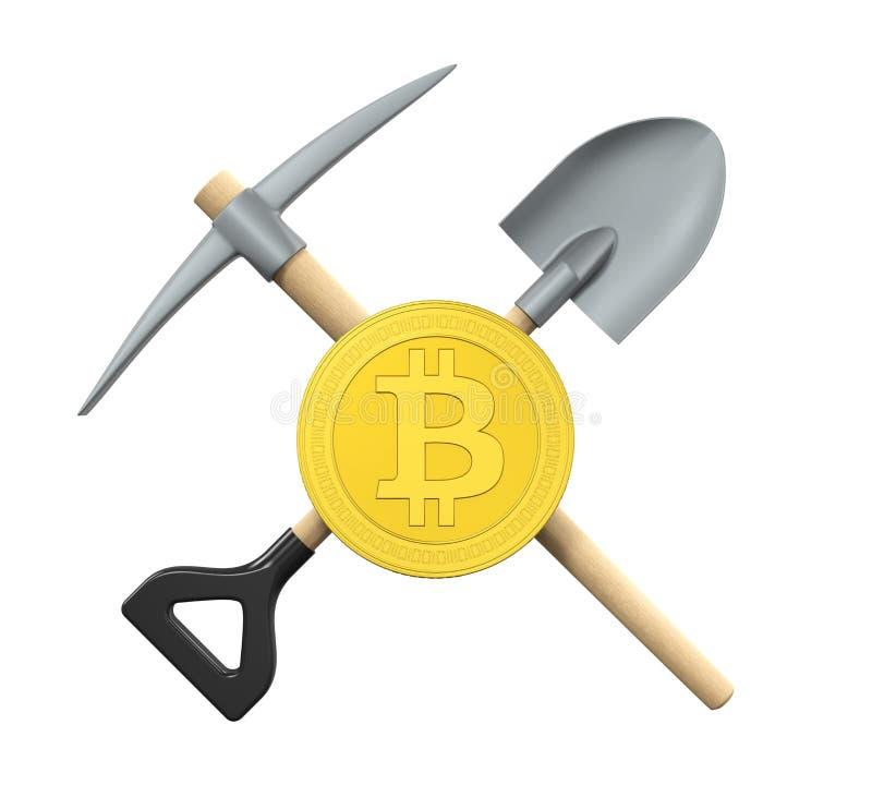 Bitcoin, piqueta y pala aislados stock de ilustración