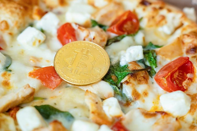 Bitcoin Pizza Day 22 May. Cryptocommunity holiday. concept of buying pizza with bitcoin. Bitcoin Pizza Day 22 May. concept of buying pizza with bitcoin royalty free stock photography