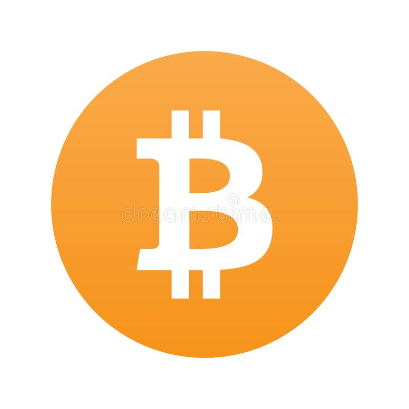 Bitcoin plan symbol som isoleras på orange bg vektor illustrationer
