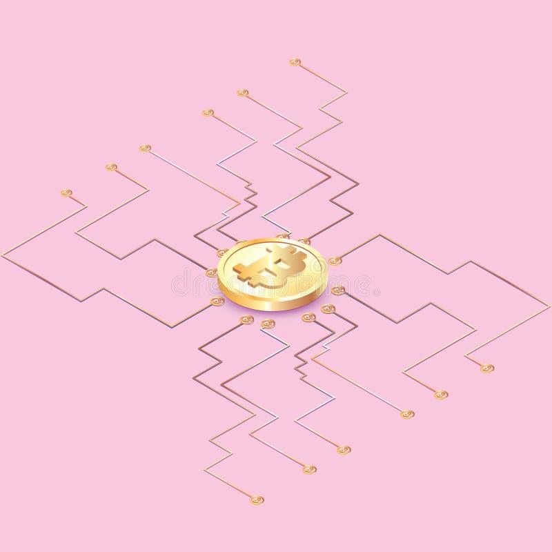 Bitcoin pojęcia wektorowa ilustracja Złotego bitcoin cyfrowa waluta na obwód desce, futurystyczny cyfrowy pieniądze, technologii  ilustracji