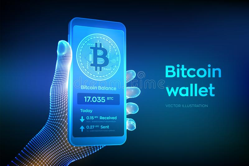 Bitcoin portfla interfejs na smartphone ekranie Cryptocurrency zap?aty i blockchain technologia opierali si? cyfrowego pieni?dze  ilustracja wektor