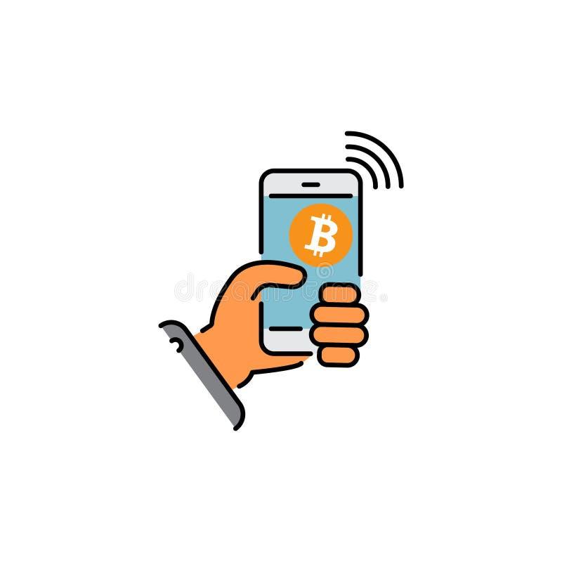 Bitcoin portfla koloru cyfrowa ikona zap?ata Cryptocurrency Ręki mienia smartphone z bitcoin znakiem Cyfrowego pieniądze transakc royalty ilustracja