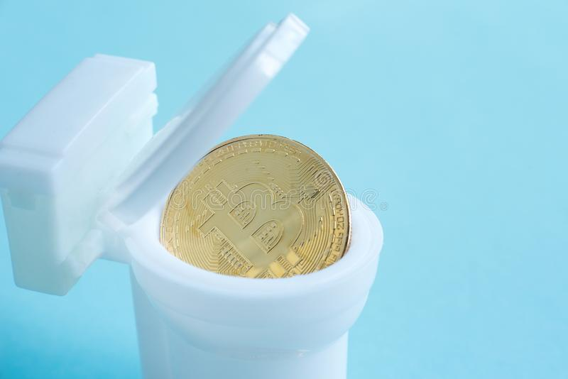 bitcoin is poured into the toilet bowl stock image