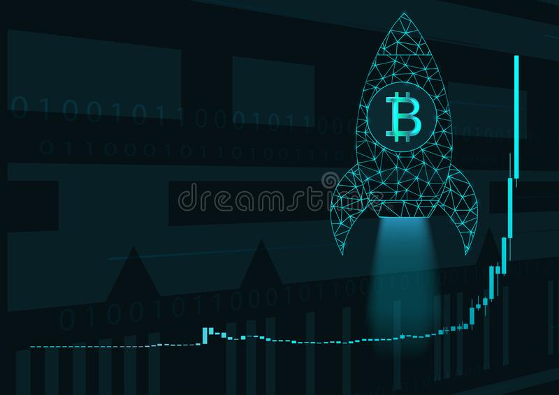 Bitcoin price chart and rocket. vector illustration
