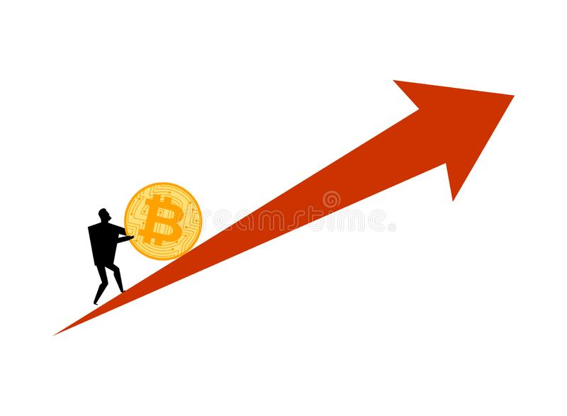 Bitcoin price rising. Businessman pushes coin btc. Cryptocurrency price increase. Business concept in crypto exchange.  vector illustration
