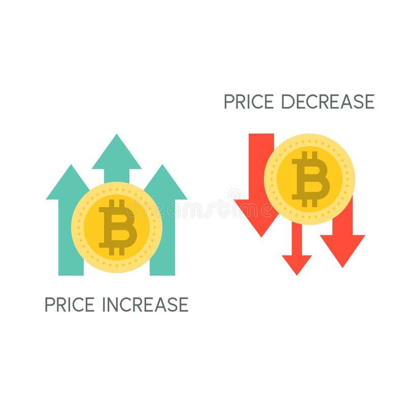 Bitcoin prishöjning och minskning royaltyfri illustrationer